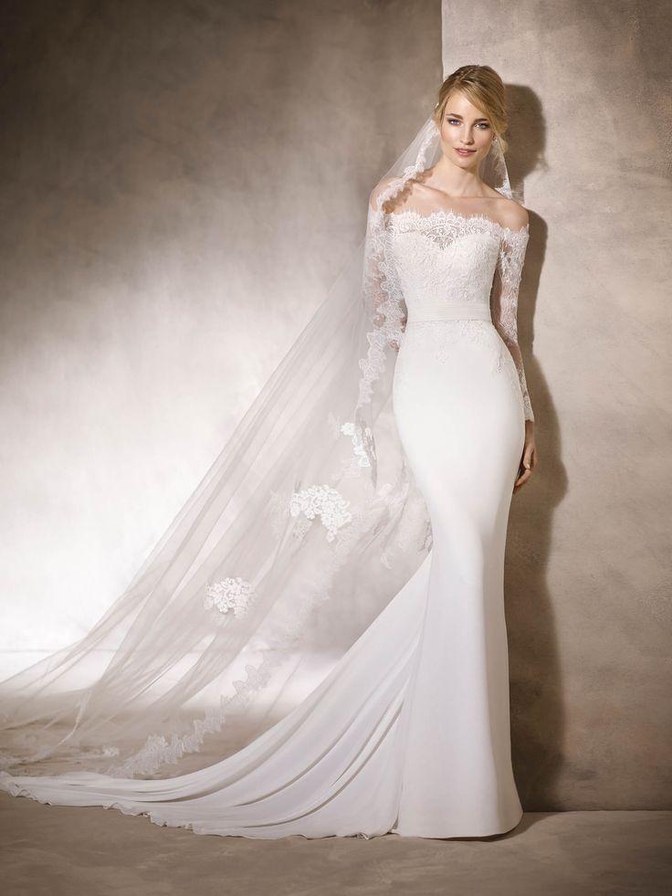 Beautiful HADREA is a fantastic mermaid style wedding dress with an envelope neckline in gauze Chantilly Dressy DressesLa Sposa