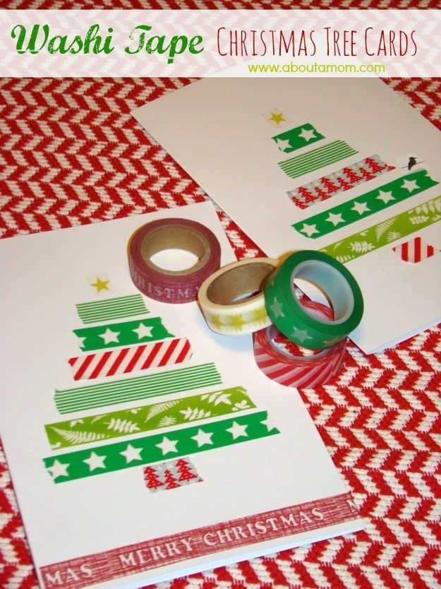 These adorable washi tape tree cards. | 23 DIY Christmas Cards You Can Make In Under An Hour