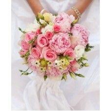Pink Rose, Lisianthus, Peony & Chincherinchee Brides Bouquet