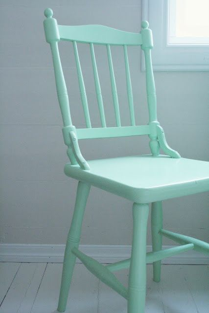 A pretty wooden painted chair.  I have one that is similar in periwinkle.