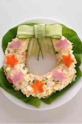 きゅうりのリボン☆リース型ポテトサラダの画像
