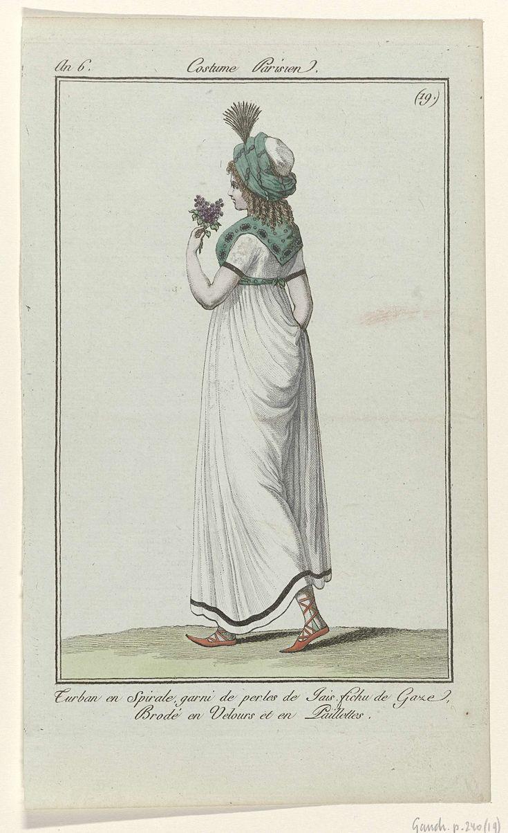 Journal des Dames et des Modes, Costume Parisien, 11 mai 1798, An 6, (19) : Turban en Spirale..., Anonymous, Sellèque, Pierre de la Mésangère, 1798