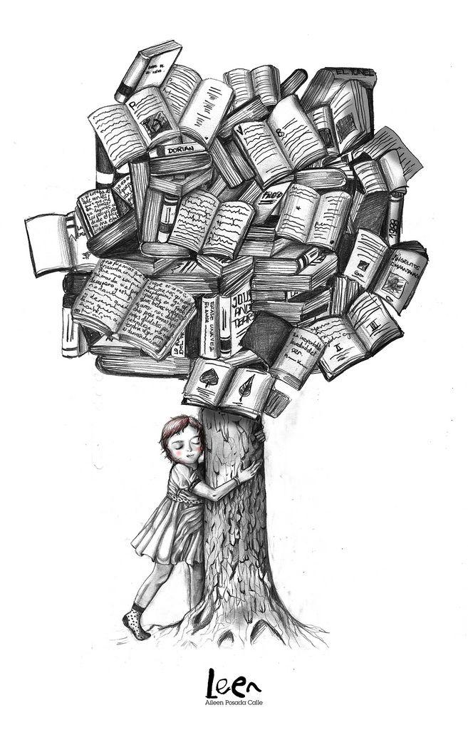 Book Love © AILEEN POSADA aka Leen (artist). Book Tree. Girl. Hug.