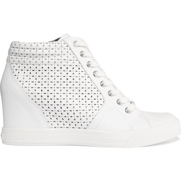 DKNY Cindy leather wedge sneakers (345 ILS) ❤ liked on Polyvore featuring shoes, sneakers, white, wedged sneakers, hidden wedge sneakers, white shoes, white trainers and wedge sneakers