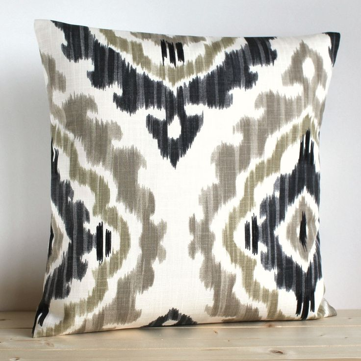 grey and beige ikat pillow cover 16 x 16 ikat by couplehome