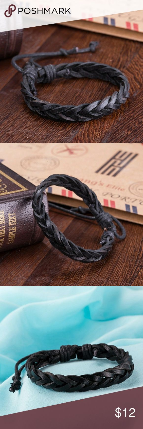 Men's leather braided bracelet Black leather bracelet Braided style Accessories Jewelry