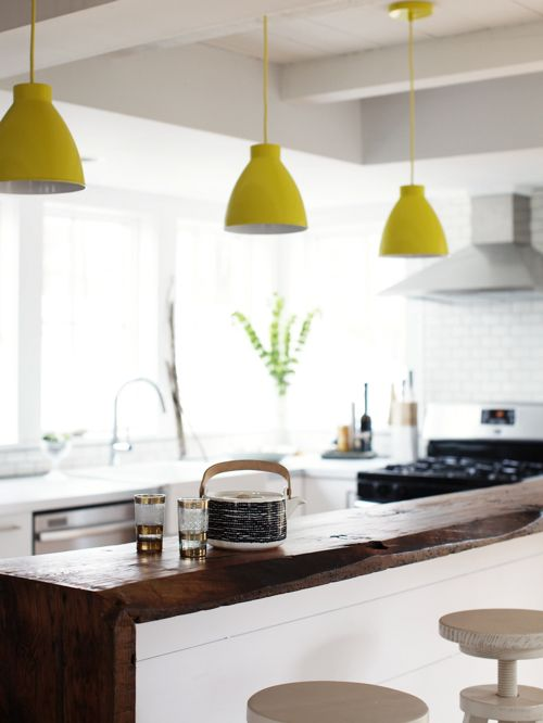 45 best yellow pendant lights images on pinterest hanging lamps great farmhouse kitchen with the wood countertop yellow pendants subway tile and natural light aloadofball Image collections