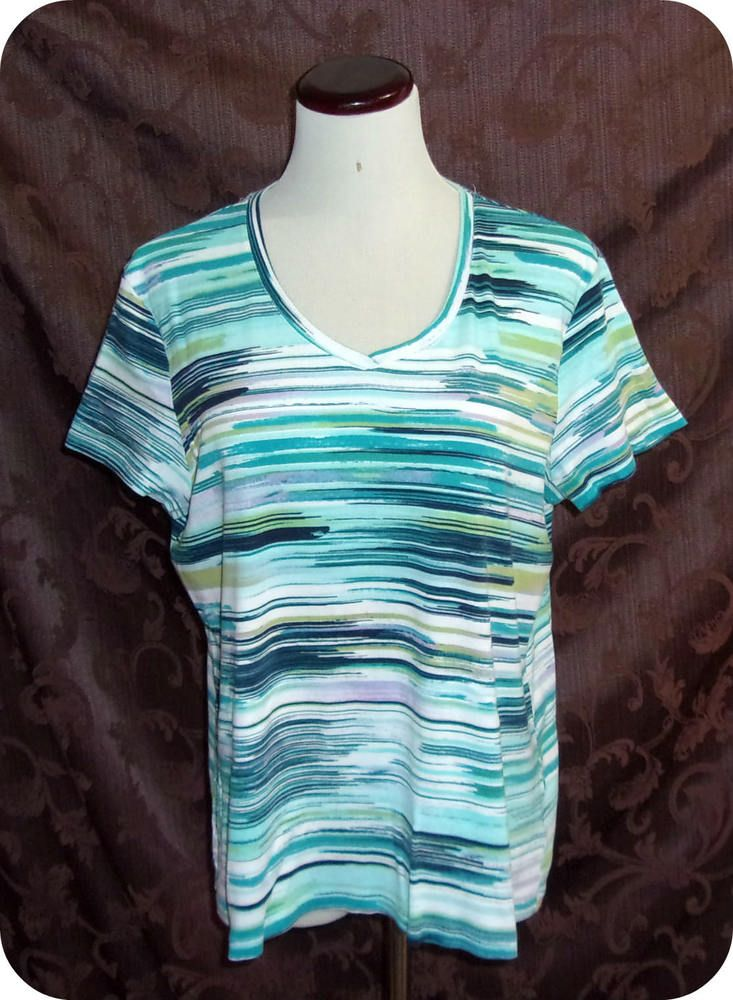 Croft & Barrow Womens Top Size Extra Large Blue White Multi Short Sleeve  Cotton