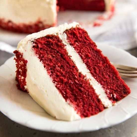 A moist, classic Red Velvet Cake! Made from scratch, and surprisingly easy when a few simple steps are followed.