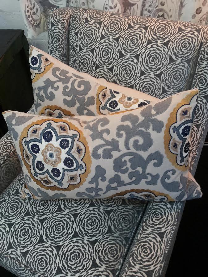 Warwick Arsari Blue Lumbar Cushions - $180 each