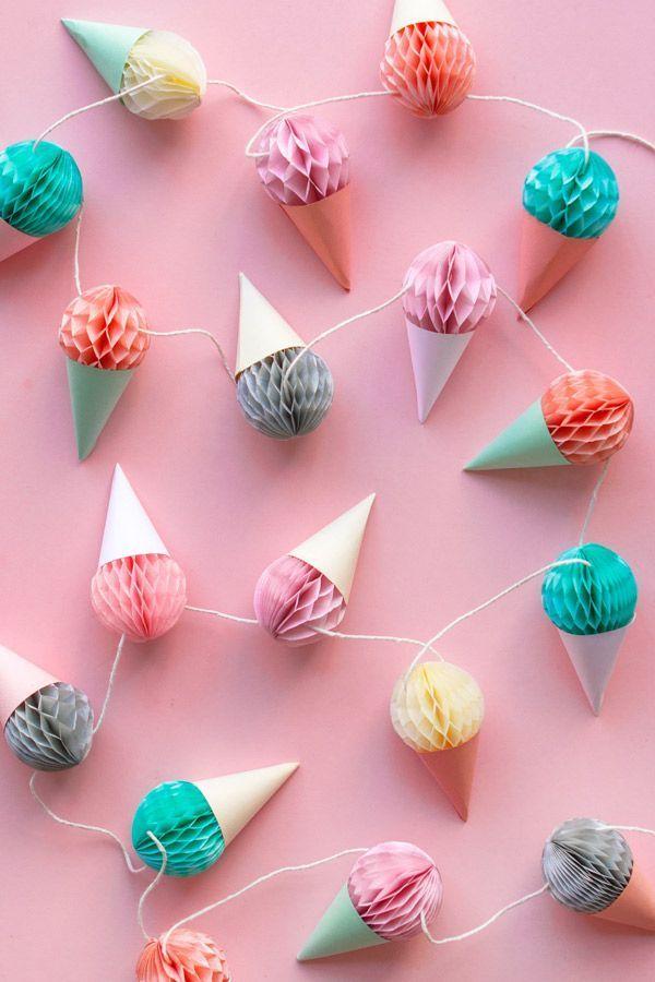 Für den Kindergeburtstag | Eis in der Waffel zum hängen | DIY Girlande | Girlande selber machen Idee | DIY Idee | Girlande basteln |