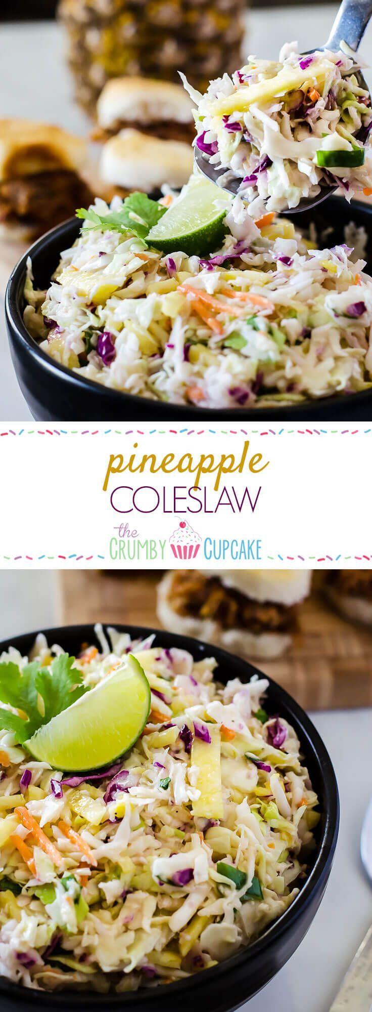 Bring the best dressed slaw to your next BBQ! This fast & easy Pineapple Coleslaw adds a little tropical flair to the otherwise ordinary side, making it a great topping for everything from sliders to hot dogs!