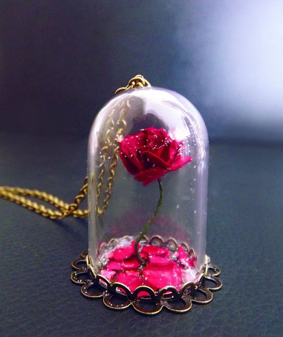 Beauty and the beast rose, rose vial necklace, snowglobe necklace, fantasy jewelry, Valentines day, fairy tale jewelry, victorian necklace