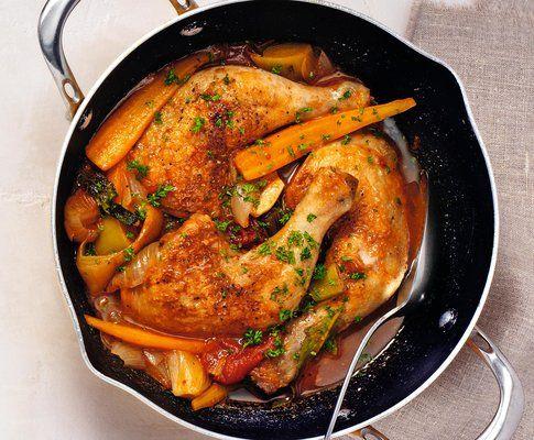 Cosce di pollo in umido alle verdure