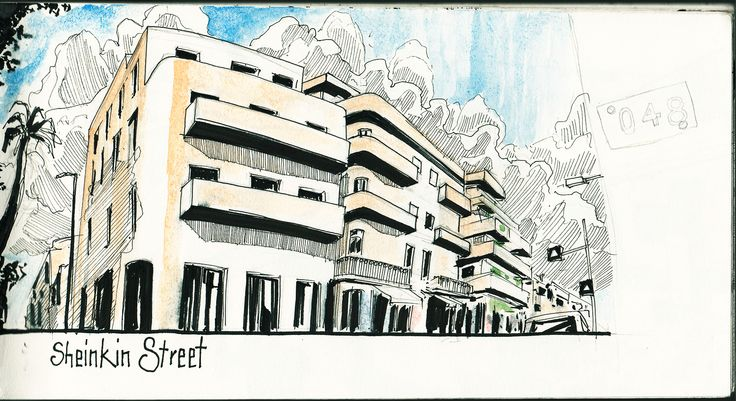 In march I spent 10 days in Tel Aviv. These are some pages from my sketchbook from that time. Sheinkin Street.