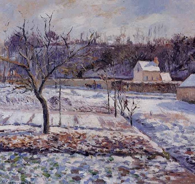 Impressionnisme : Camille Pissaro - Vue sur l'hermitage en neige (1874)