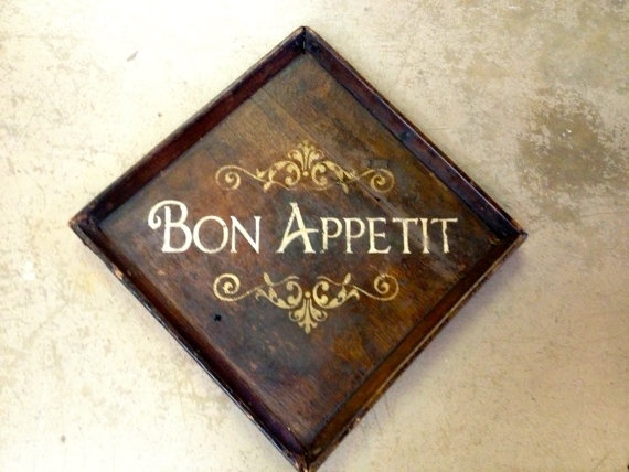 ***SOLD**** Wood Bon Appetit Sign wall hanging by VintageHomeLiving on Etsy, $55.00