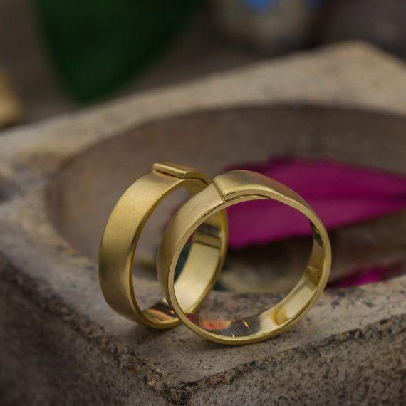 Tova - Wedding Rings in 14K Matte Yellow Gold, Unique Handcraft Wedding Bands, 14K Yellow Gold Wedding Rings, Handmade Jewelry