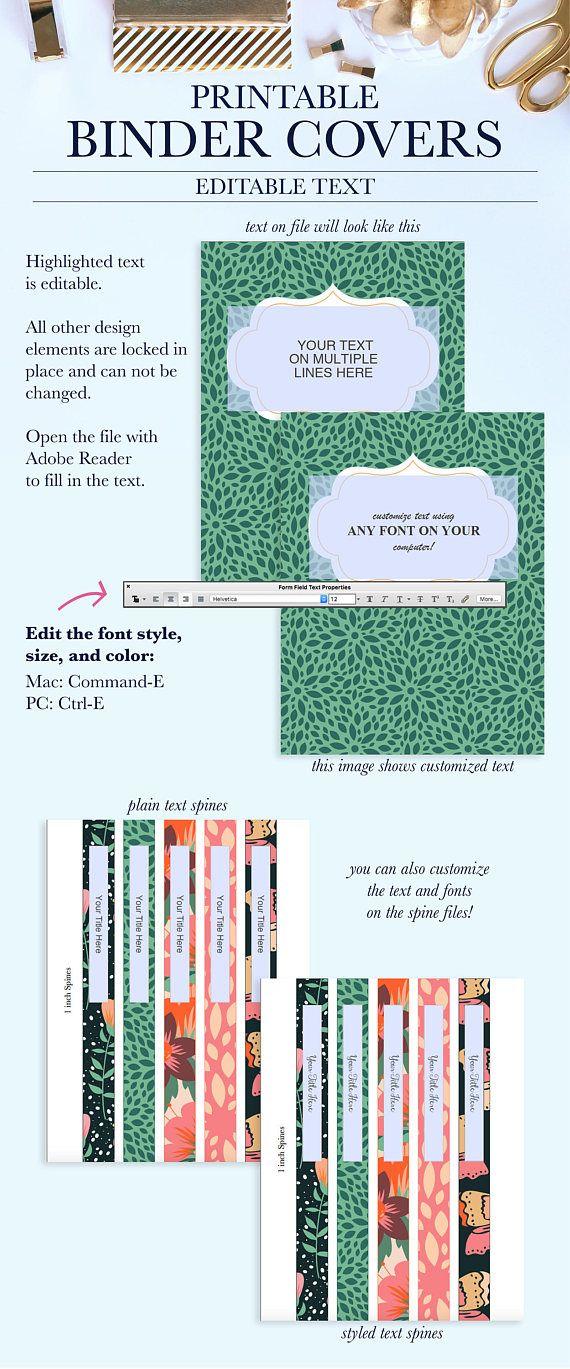 Printable Binder Covers Monogram Binder Covers Teacher