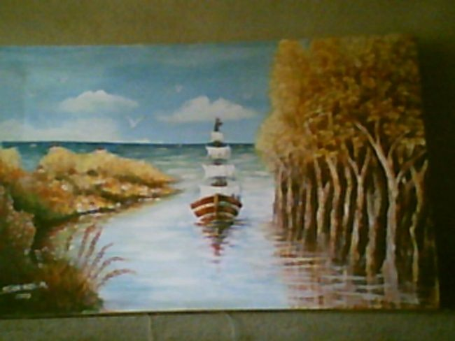 PAYSAGE - Painting,  48x71 cm ©2002 by Mohamed Sakhri -