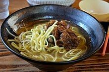Soki (Okinawan: ソーキ sooki) is a specialty of the cuisine of Okinawa Prefecture, Japan. Soki are (usually boneless) stewed pork spare ribs, with the cartilage still attached. They are often served with Okinawa soba.
