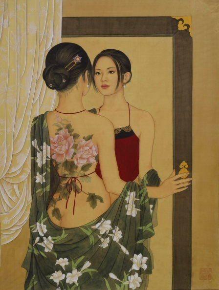 Китайская художница Huixuan Zhao - Иероглифы на песке