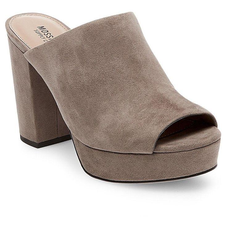 Women's Sloan Block Heel Platform Mule Pumps Mossimo Supply Co. - Taupe (Brown) 8.5
