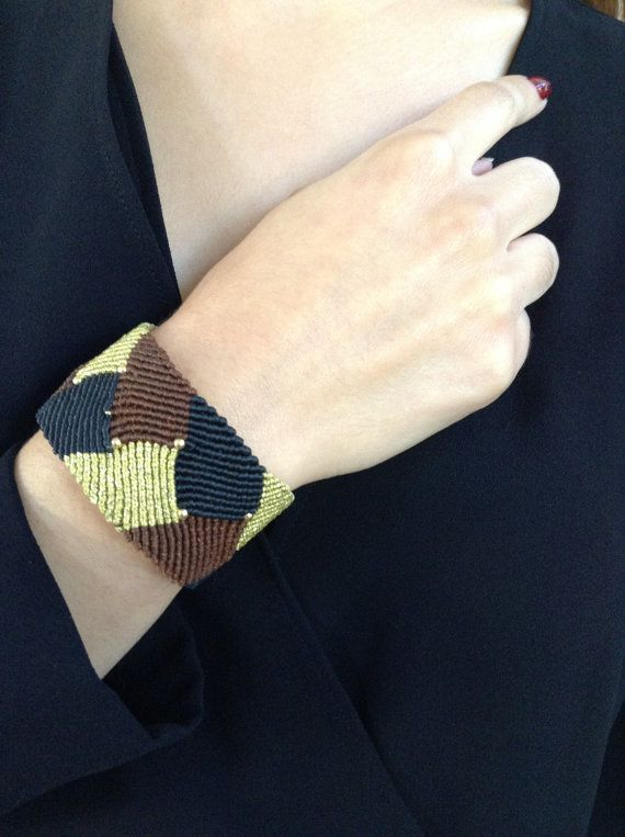 Fabulous Macrame Bracelet in BlackGoldBrown Color by alsoljewels