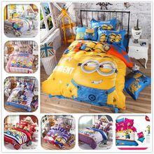 3D Minions Cartoon Bedding Set Hello Kitty Mickey y Minnie Niños Juego de cama ropa de Cama Hoja de Cama Funda Nórdica + Fundas de Almohada(China)