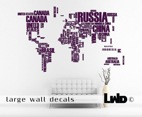 Map of the World Wall Decals - Extra Large Living Room Decor on Etsy, $122.00