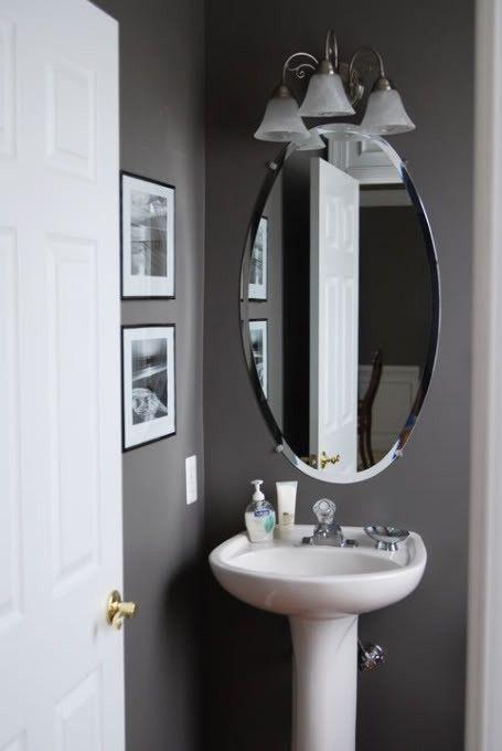 Grey Decor Bathroom: Grey Half Bathroom Decoration Idea.