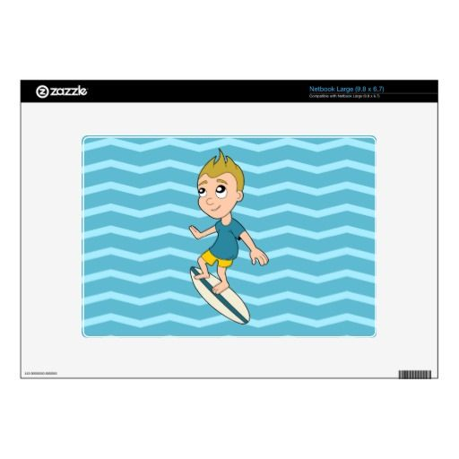 Surfing boy cartoon netbook skin