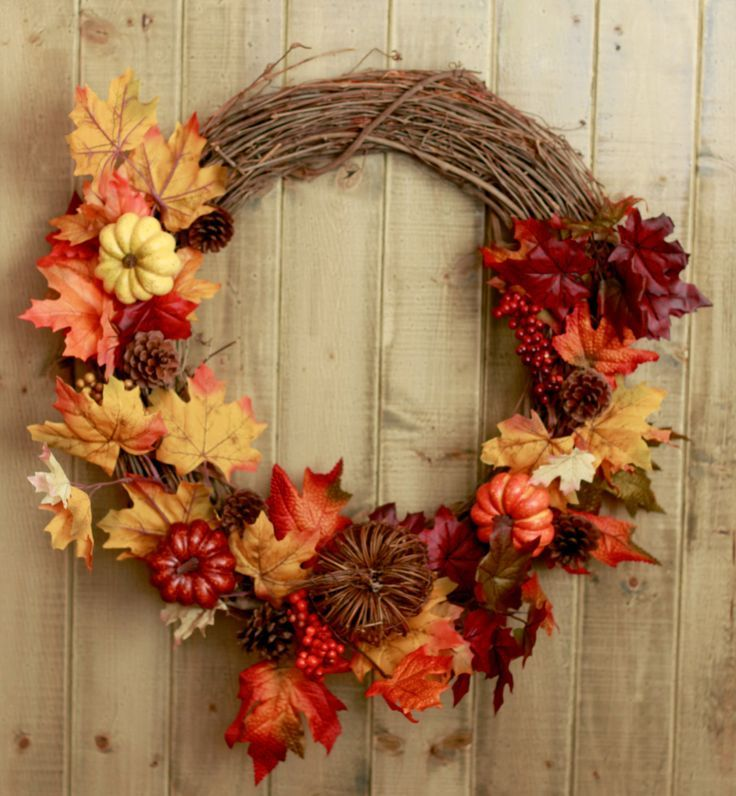 Fall Wreath  Classic Autumn Leaves And Pumpkins, Pine Cones, And Floral