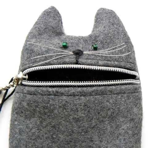 Ipod case or camera zipper pouch Hungry cat by Tokyoinspired