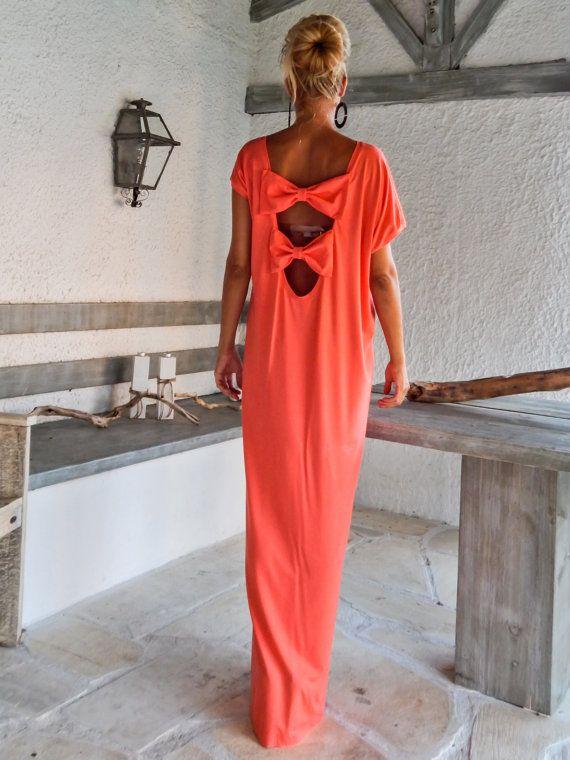 Koraal Open terug buigen Maxi jurk Kaftan / asymmetrische Open