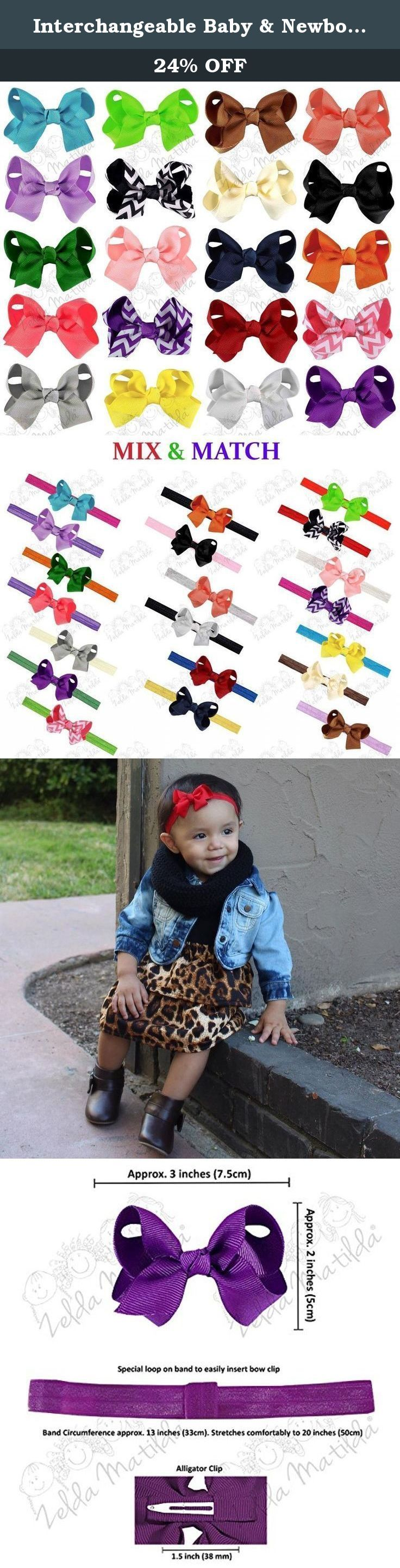 Interchangeable Baby & Newborn Bows and Headbands Set by ZELDA MATILDA (40 Pack) - Attach Bow to Super Stretchy Headband or Use Separately! Great For Babies and Kids - Boutique quality!. Interchangeable 20 Bow and 20 Headband Set by ZELDA MATILDA Use the Bows Attached to The Super Soft and Stretchy Headbands or Wear Separately! Are You Tired of Wasting Money on Low Quality Accessories That Fall Apart or Are Not Well Made? Don't You Wish There Was a Way to Buy Boutique Bows and Headbands at…