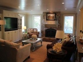 93 best images about family rooms on pinterest for Living room layout with fireplace and tv on opposite walls