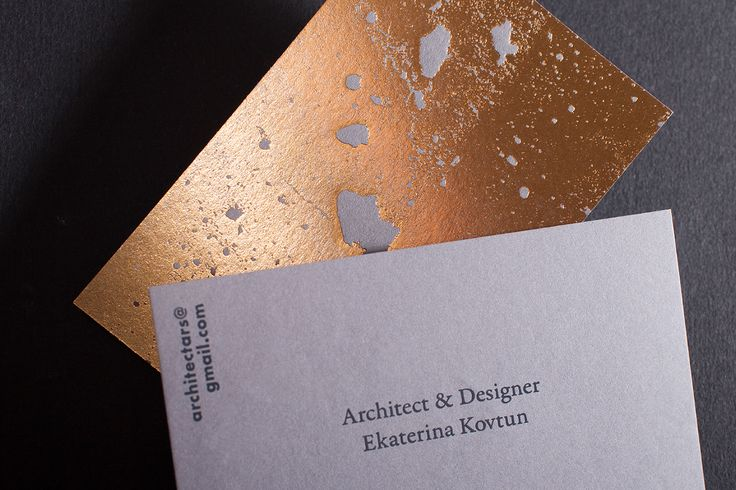 Beautiful and minimal business card designed by Oleg Zvyagintsev for an architect using the raw form of concrete and an abstract golden foil print on the back of the paper to make it look elegant and deluxe.