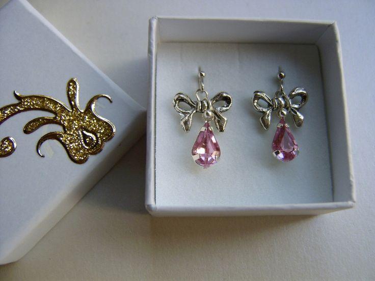 Ohrringe & Ohrhänger - Ohrringe in rosa mit Schleifchen,Kinder Ohrringe - ein Designerstück von kunstpause bei DaWanda
