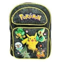 Pokemon Pikachu and Frieds Large Backpack (00843340049083) Measures 16x12x4. Large size. Made of canvas. Adjustable padded straps. Main double zips compartment with 2 front zip pockets. 2 side pockets. (1 mesh pocket for bottle). Identification card holder.