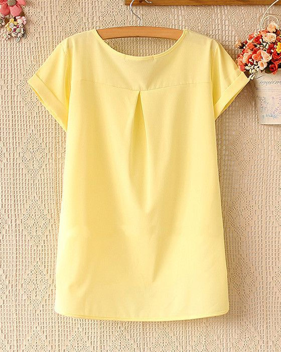 Item Type: TopsMaterial:ChiffonCollar:Round NeckSleeve Length:Short SleeveColor: Pink, YellowSize:M,L