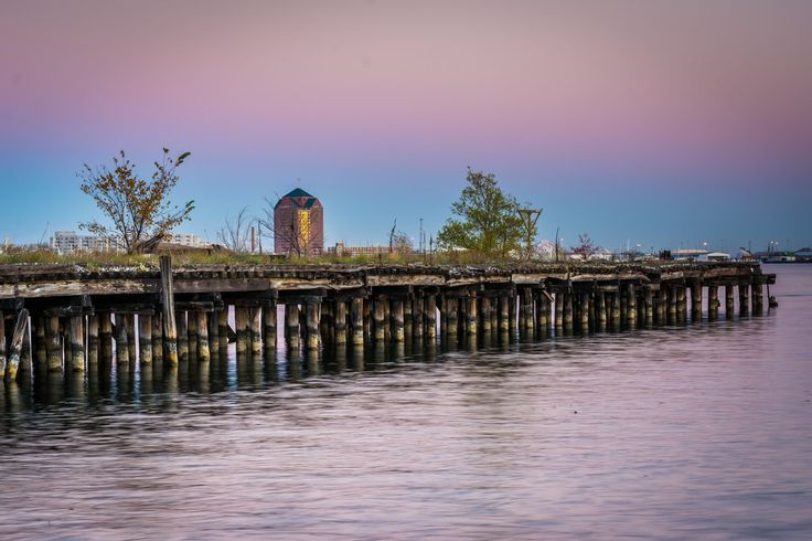 Abandoned pier at sunset in Fells Point Baltimore, Maryland.