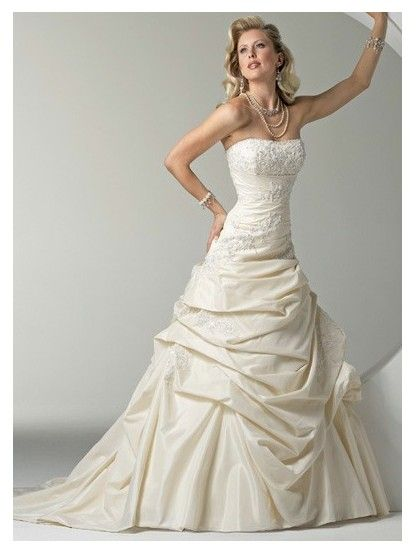 Strapless Dropped Waist Ruched Taffeta Champagne Couture Wedding Dresses