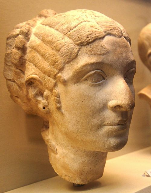 Portrait bust of Cleopatra VII on display in the British Museum by Ahala, via Flickr Contrary to pop culture, Cleopatra was not a beautiful women. The idea of her as a knockout is because of her ability to persuade Caesar and Antony. She had a very large nose and it was stated that she had crooked eyes.