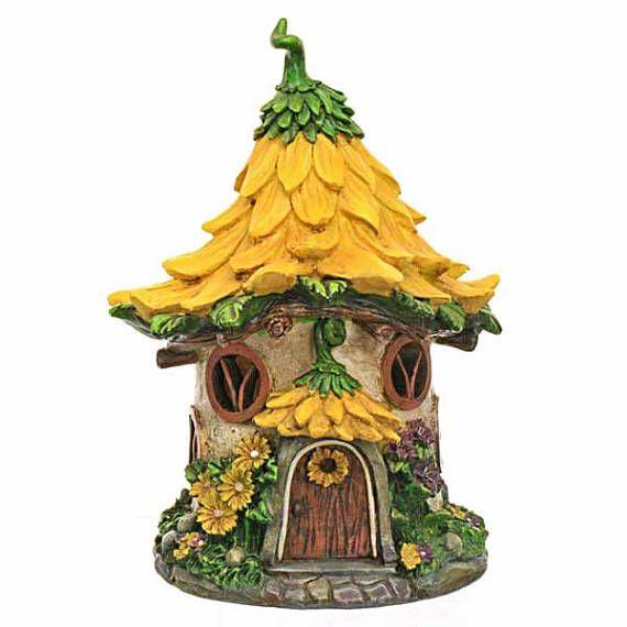 Yellow Flower Solar Fairy House Fairy Cottage Fairy