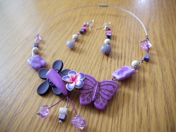 Necklace and earrings Purple Butterfly by CreationsBella on Etsy, $35.00