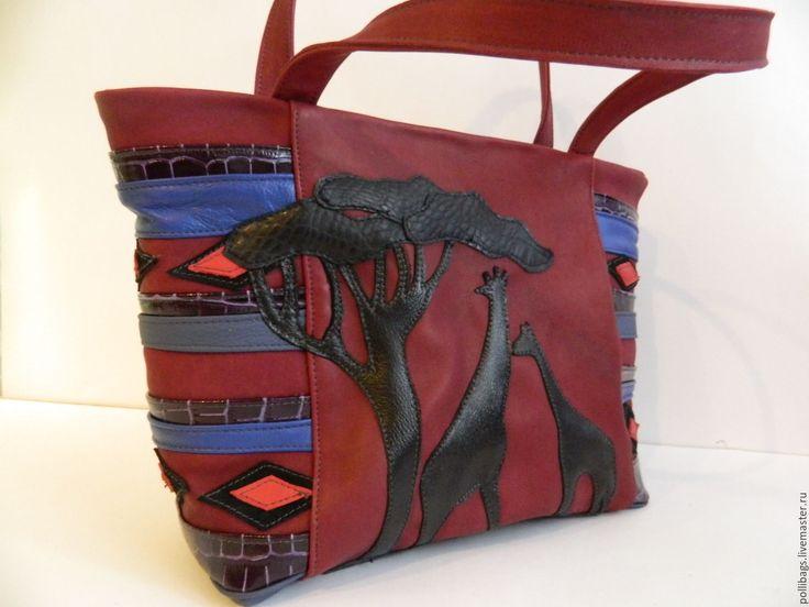 Купить Сумка кожаная женская большая с аппликацией. Африканский закат - бордовый, сумка ручной работы