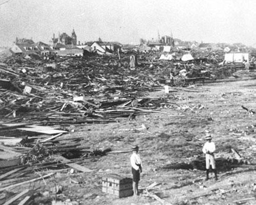 Destruction in Galveston, Texas after the Galveston Hurricane of 1900.  The hurricane and associated storm surge killed over 8,000 people.  It is still the worst natural disaster in US History by that count.