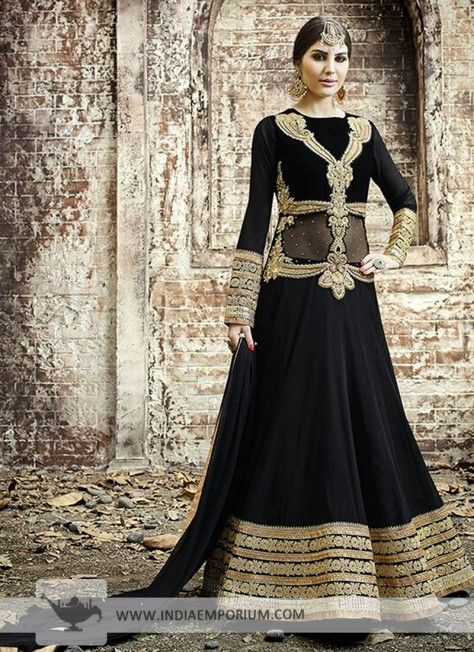Black Georgette Embroidered Anarkali Suit #Designersuit #Black #Anarkali #DesignerAnarkali #Suit #Indiaemporium