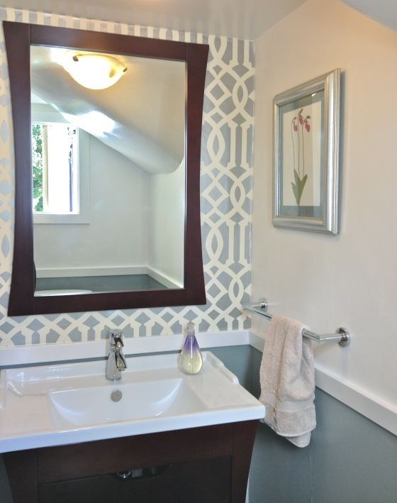 Chair Rail Mirror And Accent Wall Powder Room